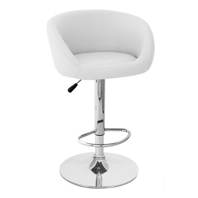 Sasha Adjustable Height Swivel Bar Stool Upholstery: White