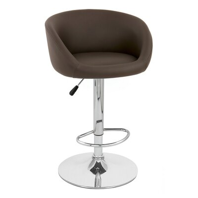Sasha Adjustable Height Swivel Bar Stool Upholstery: Brown