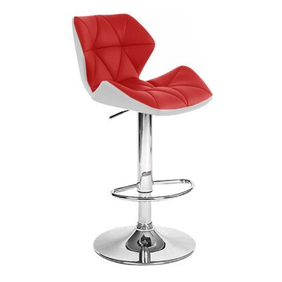 Spyder Adjustable Height Swivel Bar Stool Upholstery: White/Red