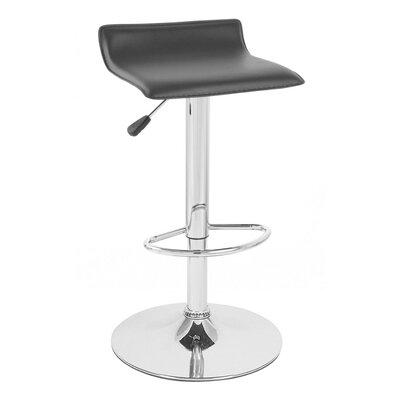 Sigma Adjustable Height Swivel Bar Stool Upholstery: Black