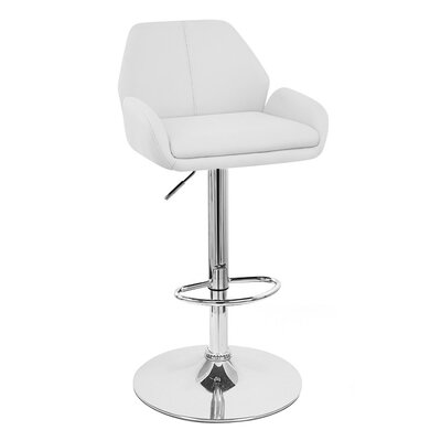 Tesla Adjustable Height Swivel Bar Stool Upholstery: White