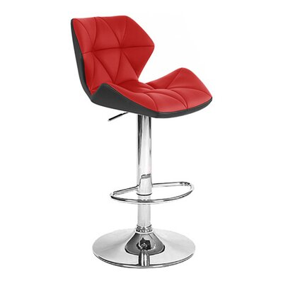 Spyder Adjustable Height Swivel Bar Stool Upholstery: Black/Red