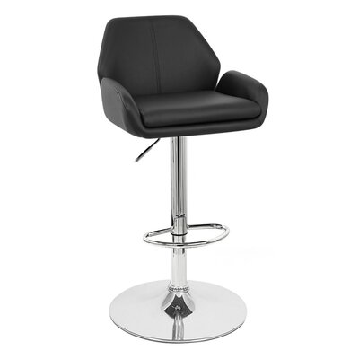 Tesla Adjustable Height Swivel Bar Stool Upholstery: Black