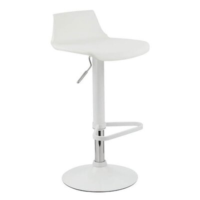 Tiglion Adjustable Height Swivel Bar Stool Finish: White