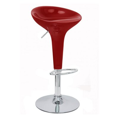 Alpha Adjustable Height Swivel Bar Stool Finish: Dark Red