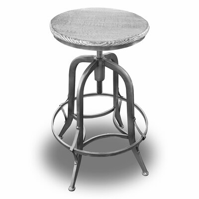Chester Adjustable Height Swivel Bar Stool Finish: Pewter