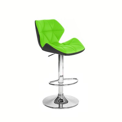 Spyder Adjustable Height Swivel Bar Stool Upholstery: Black/Lime