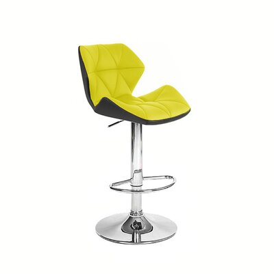 Spyder Adjustable Height Swivel Bar Stool Upholstery: Black/Yellow
