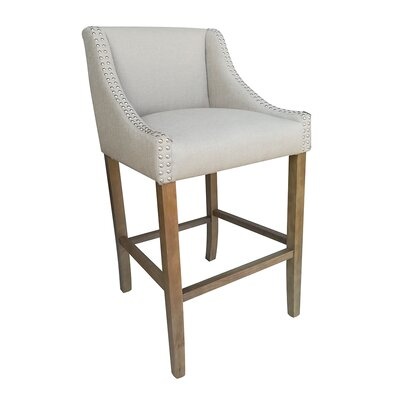 Parkland Contemporary Wood 29.5 inch Bar Stool Upholstery: Beige
