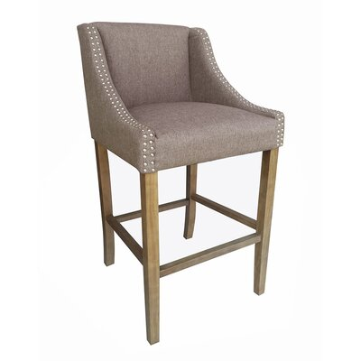 Parkland Contemporary Wood 29.5 Bar Stool Upholstery: Brown