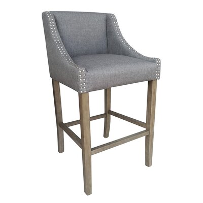 Parkland Contemporary Wood 29.5 Bar Stool Upholstery: Gray