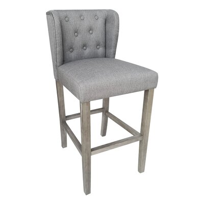 Rodman Contemporary 29.5 inch Bar Stool with Cushion Upholstery: Gray