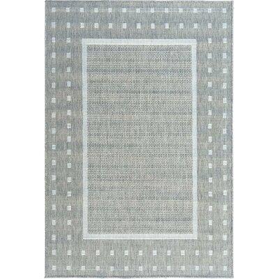 Summer Geometric Bordered Dark Gray Indoor/Outdoor Area Rug Rug Size: 53 x 73