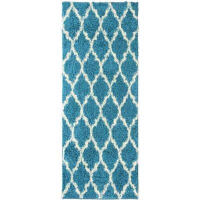 Plush Moroccan Geometric Trellis Blue Shag Area Rug