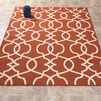 Rose Orange Area Rug Rug Size: 5 x 66
