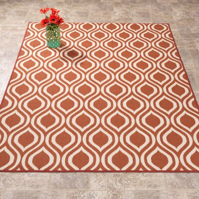 Rose Orange Area Rug Rug Size: 33 x 47