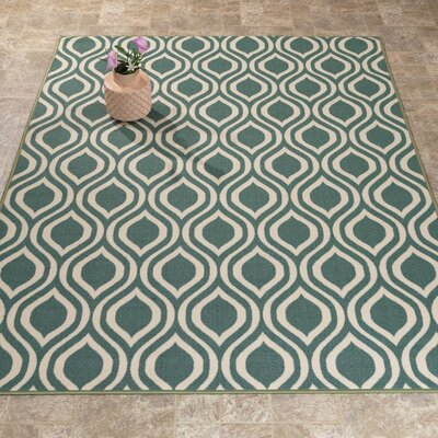 Rose Ocean Green Area Rug Rug Size: 33 x 47