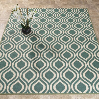 Rose Ocean Green Area Rug Rug Size: 5 x 66