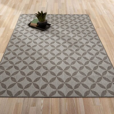 Summer Geometric Star Natural Gray Indoor/Outdoor Area Rug Rug Size: 53 x 73