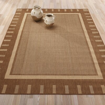 Summer Geometric Bordered Brown Indoor/Outdoor Area Rug Rug Size: 53 x 73