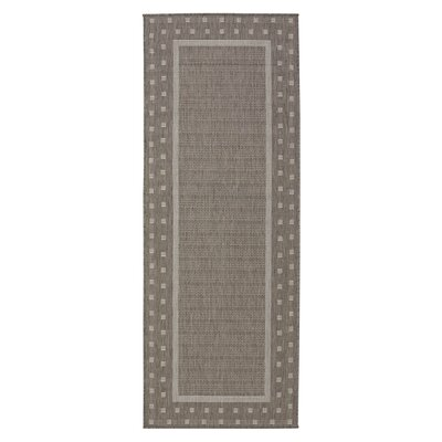 Summer Geometric Bordered Dark Gray Indoor/Outdoor Area Rug Rug Size: Runner 2'7