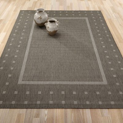 Summer Geometric Bordered Dark Gray Indoor/Outdoor Area Rug Rug Size: 53 x 73