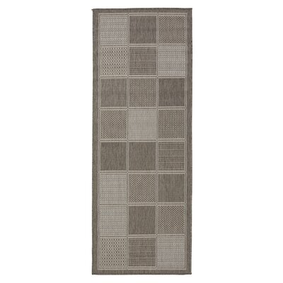 Summer Geometric Boxes Natural Gray Indoor/Outdoor Area Rug Rug Size: Runner 27 x 7
