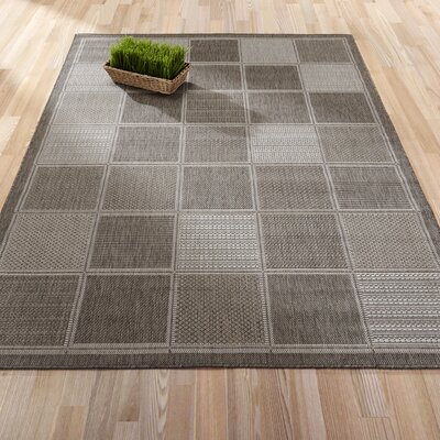 Summer Geometric Boxes Natural Gray Indoor/Outdoor Area Rug Rug Size: 53 x 73