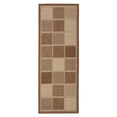 Goodhue Contemporary Boxes Design Brown Outdoor/Indoor Area Rug Rug Size: Runner 27 x 7