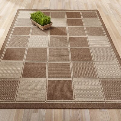 Summer Geometric Boxes Natural Indoor/Outdoor Area Rug Rug Size: 5'3