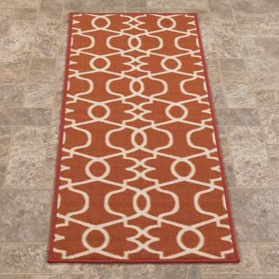 Rose Orange Area Rug Rug Size: Runner 18 x 411