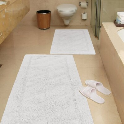 Ruby 2 Piece Super-Soft Hand-Tufted Natural Cotton Bath Rug Set Color: White