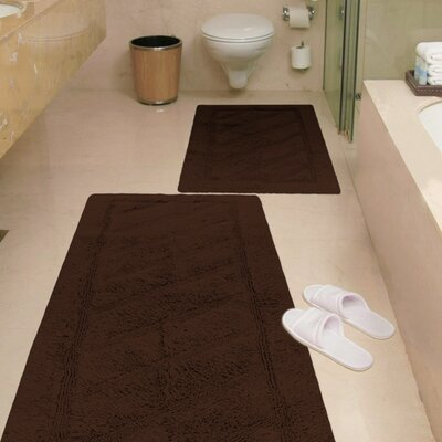 Ruby 2 Piece Super-Soft Hand-Tufted Natural Cotton Bath Rug Set Color: Brown