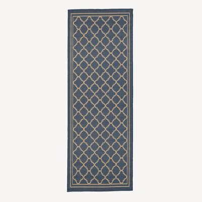 Chapman Blue Trellis Indoor/Outdoor Area Rug Rug Size: Runner 2'7