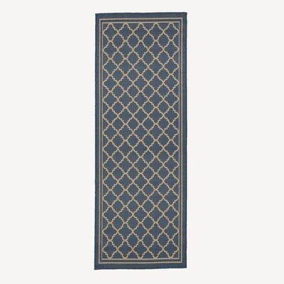 Chapman Blue Trellis Indoor/Outdoor Area Rug Rug Size: Runner 27 x 7
