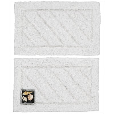 Ruby Super-Soft Hand-Tufted Natural Cotton Bath Rugs Color: White