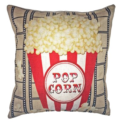 Movie Popcorn Bucket 100% Cotton Throw Pillow