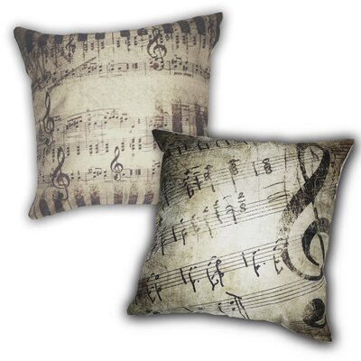 2 Piece Rustic Sheet Music 100% Cotton Throw Pillow Set