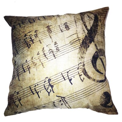Rustic Sheet Music 100% Cotton Throw Pillow