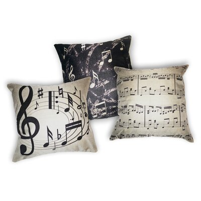 3 Piece Music Themed 100% Cotton Throw Pillow Set