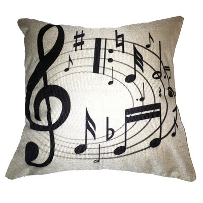 Swirling Notes Music 100% Cotton Throw Pillow