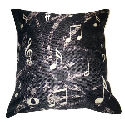 Music Notes 100% Cotton Throw Pillow