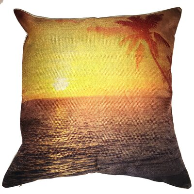 Beach Sunset Cotton Throw Pillow