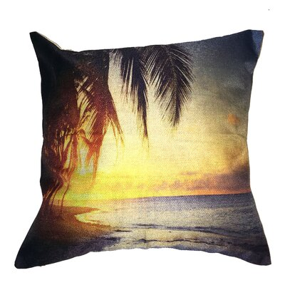 Beach Solitude Cotton Throw Pillow