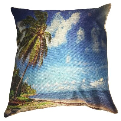 Palm Tree Beach Cotton Throw Pillow