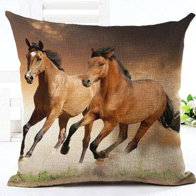 Horses Running 100% Cotton Throw Pillow
