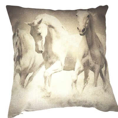 Horses 100% Cotton Throw Pillow
