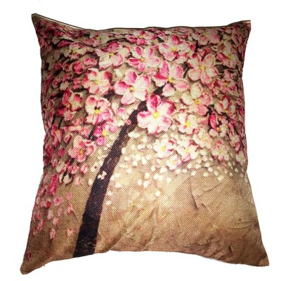 Pink Flower Tree Throw Pillow