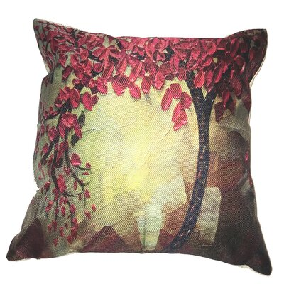 Red Flower Tree Throw Pillow