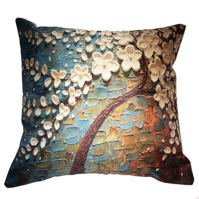 Blue Flower Tree Throw Pillow